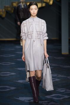 Grey white raw edged laser cut leather dress.  Tod's Fall 2014 Ready-to-Wear Collection Slideshow on Style.com