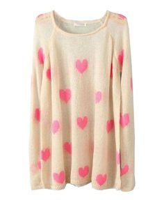 Pink Heart Print Knit Sweater