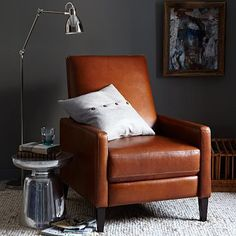 Sedgwick Recliner - Leather #WestElm. very attractive recliner.. would love to get this for ryan