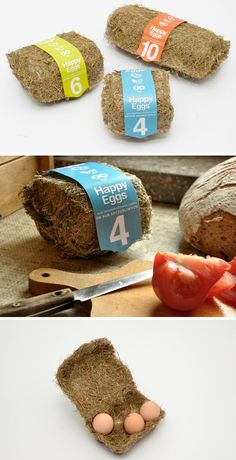 Eco-friendly egg packaging made of hay. Designed by Maja Szczypek from Academy of Fine Arts in Warsaw. Her design made it to the finals of t...
