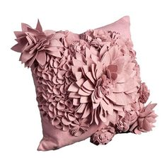 Gorgeous beautiful stunning pink felted pillow cushion ♥