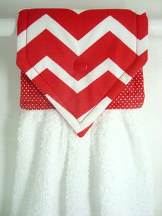 Hanging Hand Towel Red and White Chevron by MarlenesSewingRoom