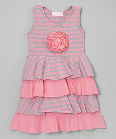 Loving this Pink & Gray Stripe Tiered Dress - Infant & Toddler on #zulily! #zulilyfinds