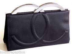 Chanel Haute Couture RARE Modern Big Logo Black Satin Handbag Clutch Evening Bag  http://fashionbagarea.blogspot.com/  #chanel #handbags #bags #fashion women chnael 2015 bags are under $159