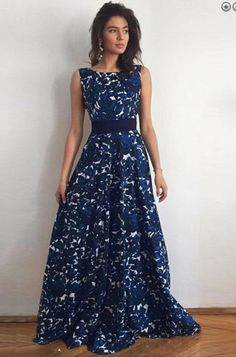 A-Line Bateau V-Back Dark Blue Lace Prom Dress