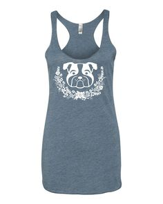 Floral Wreath English Bulldog Design on Ladies Triblend Tees and Tanks by Lucky Franklin on Etsy Bulldog Top, English Bulldog, Cute Bulldog Tank