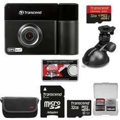 Transcend DrivePro 520 1080p HD GPS Wi-Fi Car Dashboard Video Recorder with Suction Cup + (2) 32GB Cards + Case + Kit. KIT INCLUDES 5 PRODUCTS -- All BRAND NEW Items with all Manufacturer-supplied Accessories + Full USA Warranties:. [1] Transcend DrivePro 520 1080p HD GPS Wi-Fi Car Dashboard Video Recorder with Suction Cup +. [2] Transcend 32GB microSDHC Card +. [3] JVC Camera & Accessory Case +. [4] PD 8 SD Card Memory Card Case + [5] Microfiber Cleaning Cloth.