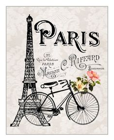 Eiffel Tower and Bicycle French Parisian 8x10 Print French