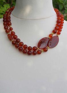 Lange Halskette Rot - Karneol