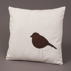 Brown & White Pillow Cover - Little Bird Applique 14 x 14 Linen via Etsy