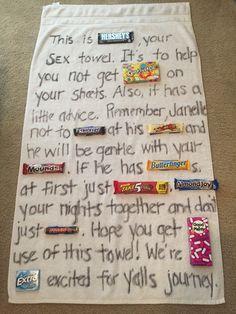 bridal shower gag gift candy bar poem lingerie shower sex towel hersheys