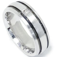 Mens 14K White Gold Princess Diamond Wedding Band Ring by Pompeii3