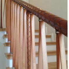 garrett leather handrails for stairs Entry Stairs, Joinery Details, Stair Handrail, Leather Wall, Stairway To Heaven, Stairways, Door Handles, Design Inspiration, House Design