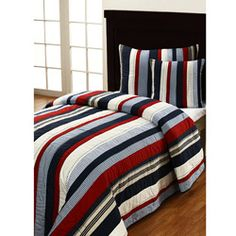 @Overstock - This handmade quilt set is designed to add a classic, comfortable touch to any bedroom decor.  This quilt showcases a stripe design in red, white and blue.  http://www.overstock.com/Bedding-Bath/Cameron-3-piece-Twin-size-Quilt-Set/5533362/product.html?CID=214117 $99.99