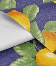 """Navy Lemons in flannel-backed vinyl. So cute for garage cabinet shelves and drawers. 54"""" x $3.95/yd. + $8 for shipping. polyvinyl chloride. For garage?"""