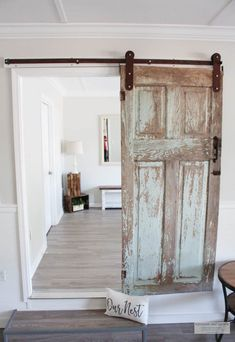 This is the story of how my vintage chippy antique door finally founds it's home on a piece of rustic looking barn door hardware in our new home. Vintage Doors, Antique Doors, Old Doors, Bedroom Barn Door, Home Decor Bedroom, Distressed Doors, Inside Barn Doors, Country Farmhouse Decor, Barn Door Hardware