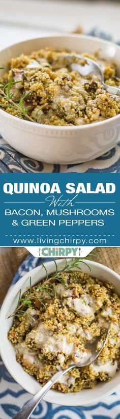Quinoa Salad with Bacon, Mushrooms and Green Pepper. A quinoa recipe that can be enjoyed hot or cold. Best served either way with a greek yoghurt dressing.