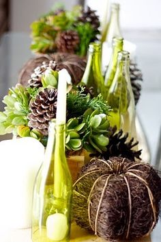 Brown & apple green tablescape: this would be a great color scheme to transition from late summer to fall, or to use for a Thanksgiving table.