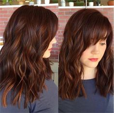 Spicy Auburn Color with Dimension and Shine - **Love the colour mix and the cut is different being blunt with the fridge bang. Cool. Maybe next time?