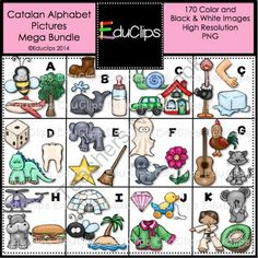 Catalan Alphabet Clip Art Mega Bundle from Educlips on TeachersNotebook.com -  (170 pages)  - Catalan Alphabet Clip Art Mega Bundle