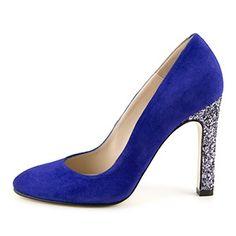 Mellow Yellow blue glitter heel pumps