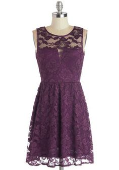"A Glance of Elegance Dress ($49.99) - ""...with visons of sugar plums dancing in their heads"" Purples, plums, and maroon remind of the holidays because of that one part in ""T'was the Night Before Christmas"". This is a cute lace floral dress that shows just enough skin, and I especially love that subtle dip at the bust. Would be perfect with a gold braided belt, black tights, and a pair of black suede heels. #ModCloth #sexylittleholidaynumber #winterfashion #dresses #holidaydress"