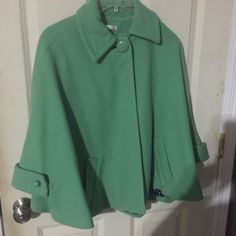 1950's carriage style cape CAbi 1950's carriage cape! A beautiful minty green, wool lined, navy interior with white polka dots. An adorable one of kind!!! CAbi Jackets & Coats Capes