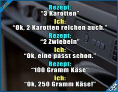 Kochen? Kann ich! #Kochen #lecker #Käseliebe #Essen #lustigeSprüche Funny Jokes, Hilarious, Funny Cute, I Laughed, Tumblr Posts, Haha, Comedy, Weird, My Life