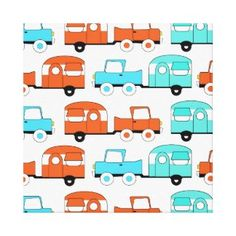 Retro Camping Trailer Turquoise Orange Vintage Car Canvas Prints