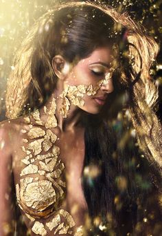 #Gold leaf #MakeUp, by Laura Feirrera