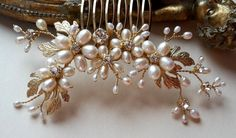 Gold pearl comb freshwater pearl comb wedding pearl by ZTetyana