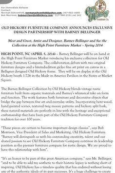 OLD HICKORY FURNITURE COMPANY ANNOUNCES EXCLUSIVE DESIGN PARTNERSHIP WITH BARNEY BELLINGER