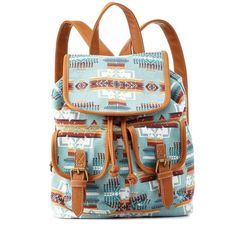 Charlotte Russe Blue Tribal Print Canvas Mini Backpack by Charlotte... (29 CAD) ❤ liked on Polyvore