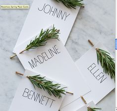placecards inspiration - maybe with pine limbs? or keep the rosemary. LIke the font.