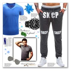 """Sport man style (Rosegal) -43-"" by gheto-life ❤ liked on Polyvore featuring Breitling, Parasol, men's fashion, menswear, perfect, sporty, man and rosegal"