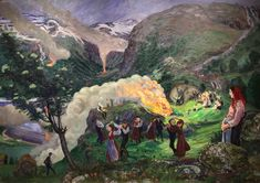 The colourful landscape paintings of Norwegian artist Nikolai Astrup are a playful addition to Bergen Art Gallery.