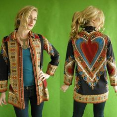 Vintage Ethnic Hippie Shirt Jacket Womens by empressjade Vintage Hippie, Vintage 70s, Hippie Pictures, 70s Outfits, 70s Fashion, Bohemian Fashion, Dress Fashion, Hippie Shirt, Ethnic Print