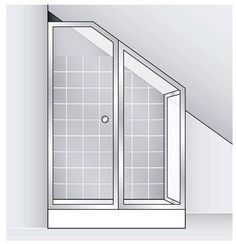 Bespoke Shower Door - Pivot or Swing Doors and Side Panels can have 'L' shaped or angled top profiles to fit under stairs or in roof spaces etc. Attic Shower, Small Attic Bathroom, Bathroom Shower Panels, Small Shower Room, Bathroom Under Stairs, Loft Bathroom, Upstairs Bathrooms, Bathroom Layout, Shower Doors
