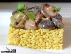 Receta de Trigo tierno y setas con jengibre y coco