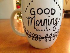 DIY painted mugs #DIY #mugs #Christmas #gifts