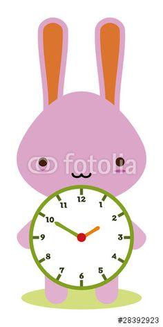 Vecteur : cute bunny holding a clock