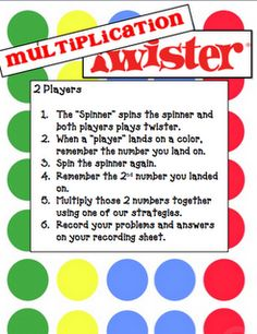 Multiplication Twister, Hula Hoop Multiplication - introducing the concept, and multiplication strategies Flip Chart