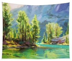 Shades of Turquoise, wilderness mountains tapestry wall art from Steve Henderson Collections. It's a quiet morning at an alpine lake in the Wallowa Mountains of Oregon, USA. The water, cool and cold, looks like something from a tropical island, but to get here, it takes hiking remote trails through the forest and the woods. It is well worth the time and the walk, because the landscape is peaceful and quiet, a place to think and dream. #wilderness #lake #mountain #forest #shenderson #tapestry