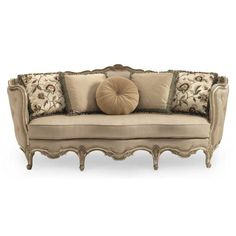 Buy the Schnadig Florence Carved Wood Sofa with 4 Pillows SN-A840-082-A on Clearance