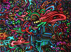 Psychedelic Visionary Urban Trippy Abstract Artwork Drawing by HellP Art 2013