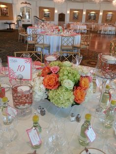 centerpieces with a coral theme.  Designed by Petal Beach