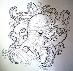 neo traditional kraken tattoo ship - Google Search