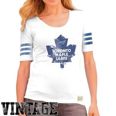 Original Retro Brand Toronto Maple Leafs Ladies 3-Stripe Primary Logo Scoop T-Shirt - White