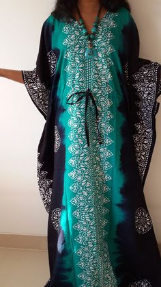 Green Kaftan dress/ Indian caftan/ Maternity Dress/ Plus size/ Beach coverup/ Holiday Dressing/Tie-Dye batik/Night Gown/Cotton Gown/Sundress by FabFabricsForU on Etsy https://www.etsy.com/listing/254335161/green-kaftan-dress-indian-caftan