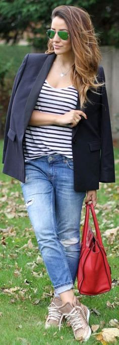 Striped Top + Navy Blue Blazer + Jeans + Sneakers + Red Bag Outfit